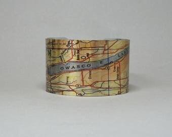 Owasco Lake Auburn New York Finger Lakes Map Cuff Bracelet Unique Gift for Men or Women