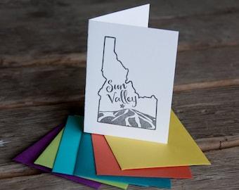 Sun Valley Idaho, Baldy Mountain letterpress printed card eco friendly