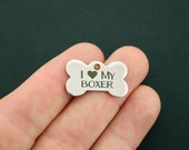 Boxer Stainless Steel Charm Dog Bone - I Love My Boxer - Exclusive Line - Quantity Options - BFS876