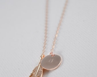 Initial Rose Gold Feather Charm Necklace, Initial Jewelry, Rose Gold Plated Disc Necklace, Rose gold Feather Necklace, Rose Gold Jewelry