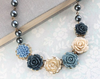 Navy Blue Rose Necklace Statement Floral Jewelry Gold Rose Dark Blue Pearl Chain Dusty Blue Flower Bib Necklace Unique Ecru Latte Tan Nude