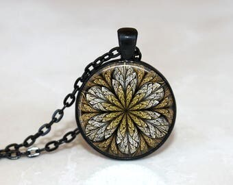 Glass Tile Necklace Flower Necklace Glass Tile Jewelry Flower Jewelry Brass Jewelry Brass Necklace Black Jewelry