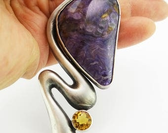 Russian Charoite and vintage Sterling Citrine One of a Kind Handmade Necklace by Blue Fish Beads