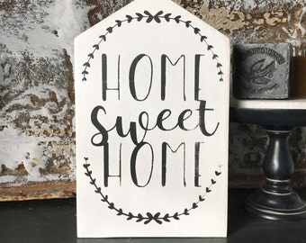 Home Sweet Home Solid Wood Decor, Hand Painted Sign, Signs for the Home, Love Your Home, Rustic Home Sign, Farmhouse Style Sign