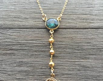 Labradorite Protective Eye Necklace | Dainty Y Necklace | Healing Stone Jewelry | Labradorite & Pyrite | 14k Gold Fill