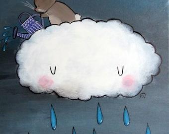 Original Nursery Art Whimsical Rain Cloud Rabbit Playroom Decor Kids Wall Art Artwork for Children Woodland Baby Gift Idea Storybook Art