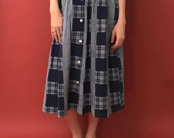 Patchwork cotton high waist button front skirt with pockets