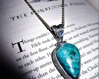 "The Forbidden Forest - Ajoite Shattuckite Chrysocolla & Moonstone Pendant - ""Arizona Lightning"" - Tranquility, Intuition, Wisdom, Fae Sight"