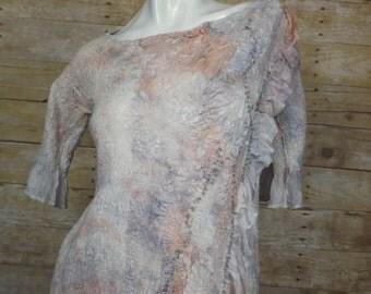 Shades of Gray and Peach  Dress, Nuno felted dress, OOAK wool Art to Wear dress, Silk dress, Original unique ,