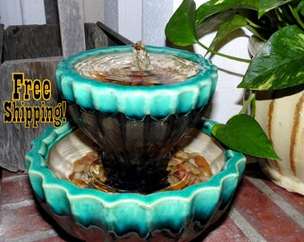 Two-Tone Turquoise and Charcoal Ceramic Water Fountain- Tabletop Fountain - Free Shipping
