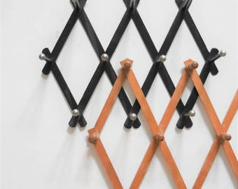 vintage wood accordion wood peg wall hanging rack // hat display storage // organizer