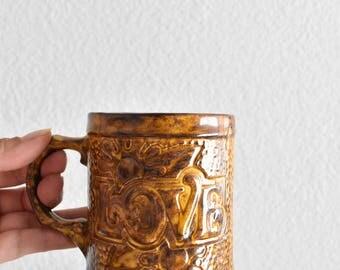 set of 2 ceramic love coffee mugs / brown flowers floral