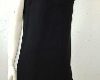 1960s Vintage Mod Mini Dress Sleeveless Shift Rhinestone Buttons Peek A Boo Cut Out