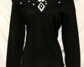 Vintage 80s ANNE KLEIN Black Merino Wool Rhinestone Collar Sweater M