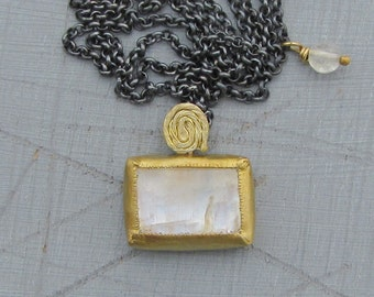 Rectangle Moonstone Pendant - 22k Gold and Moonstone Necklace - 22 k Solid Gold & Silver Necklace -