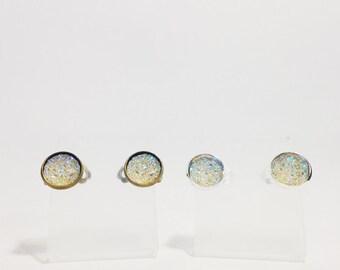The Sugar Clip On Earrings in Crystal | Crystal Glitter Earrings | Glitter Druzy Clip On Earrings | Crystal Druzy Earrings | Glitter Jewelry