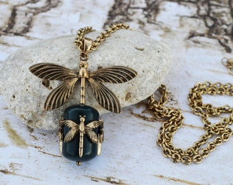 Dragonfly Necklace, Antique Gold Dragonfly Pendant, Vintage Dragonfly Necklace, Dragonfly Charm Jewelry Gift
