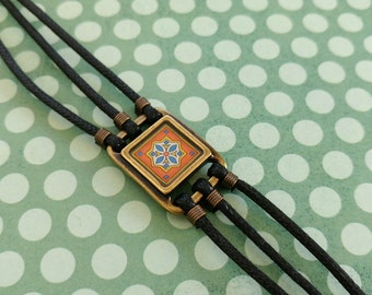 Spanish Tile Bracelet on Gold-Plated Brass and Black Waxed Cotton Cord