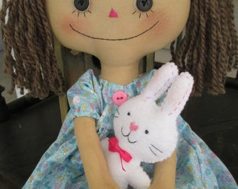 Easter Raggedy Ellie Ann with her bunny
