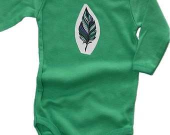 Feather Onesie, Green Bodysuit, Boho Baby Clothes, Baby Shower Gift, Feather Bodysuit