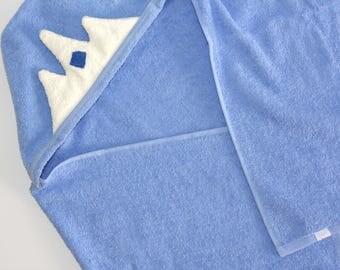 Baby Hooded Towel,  Baby Beach Towel, Prince Crown Towel, Baby Boy Gift