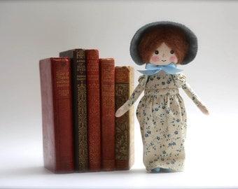 Jane Austen inspired doll, georgian costume doll, regency costume doll, heirloom doll, OOAK doll
