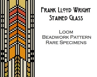 Frank Lloyd Wright Stained Glass Window Loom Beadwork Pattern - Cuff Bracelet - Bookmark - Beaded Tapestry - PDF instant download