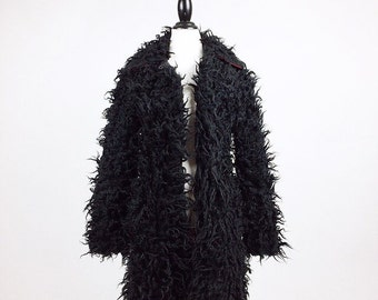 90's Black Faux Fur Cropped Shaggy Long Pile Coat by Lip Service // M
