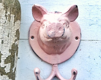 Cast Iron Flying Pig , Cast Iron Decor, Blushing Pink Garden Key Holder, Cast Iron Wall Hook , Garden Ornaments, Pig Accessories , Pig Gifts