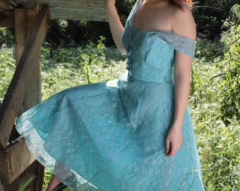 MEADOW Vintage 1950's Party Dress Teal Tulle and Lace Prom Bridesmaid Size Small