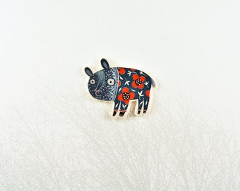 Blooming dog brooch, animal in suits, animal jewelry