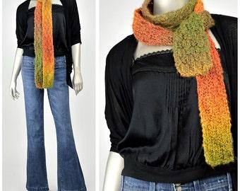 SALE! Hand Knit Scarf • Crochet Scarf • Womens Winter Scarf • Skinny Scarf • Ombre Scarf • Rainbow Scarf • Thin Scarf • Handknit Scarf