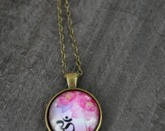 Collier médaillon - Meditation - Yoga - Lotus necklace - Vintage inspired jewelry - Coco Matcha