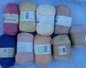 DK 100% Cotton Yarn Sublime Soya Cotton  and Purelife cotton 50g balls peach, pink, blue, yellow, beige,
