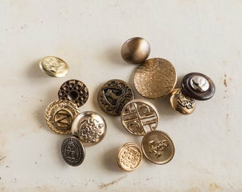 Mixed Lot of Vintage Metal Buttons Sewing Craft Supply Upcycle Repurpose Jewelry Brass