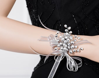 Metallic Silver Corsage - Silver Wrist Corsage for Weddings or Prom -  Wedding Corsage - Prom Corsage -  - Flower Corsage