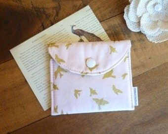 Pouch. Business Cards. Credit Cards. Tea Bag Wallet / Holder. Jewelry Case. Metallic Gold Birds in Cameo Pink