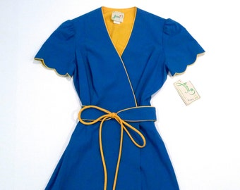 Blue Wrap Dress Vintage Jenni Ruffle Sleeve Dress with Yellow Gold Trim and Belt Garden of Color Day Dress 1970s Deadstock Tag Size 9 10