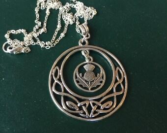 Silver Celtic Design and Scottish Thistle Pendant Necklace