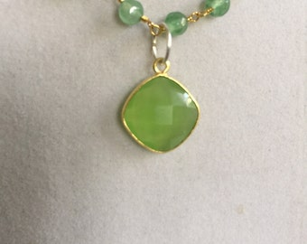 Natural Green Chalcedony Necklaceb