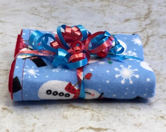 Christmas Snowmen Blue/Red Reversible Burp Cloth Great for Baby's First Christmas - Ready to Ship by PiquantDesigns