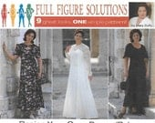 Simplicity 7163 Women's 90s Full Figure Dress Sewing Pattern Size 26W to 32W Bust 48 to 54