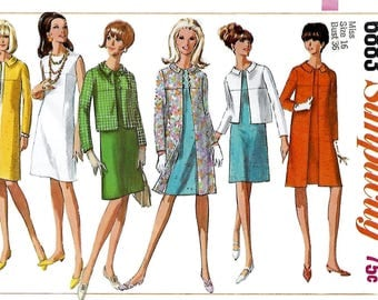 Simplicity 6883 Misses 60s Coat or Jacket and Dress Sewing Pattern Size 16 Bust 36