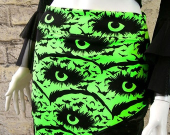 Gothic mini skirt black bats neon green cyber nu goth spooky creepy eyes small to plus size