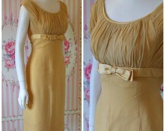 Chic Vintage Early 60s Carnegie Ochre Chiffon Cocktail Wiggle Dress Small Mediu