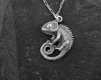 Sterling Silver Chameleon Pendant on a Sterling Silver Chain.