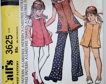 Vintage 1973 Girl's Size 4 Sewing Pattern for Pullover Top With Ruffles and Shorts or Pants McCall's 3625