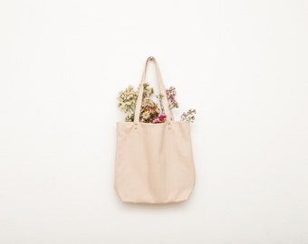 Nude Leather Tote Bag | Leather Shopper | Women's Shoulder Bag | Nude... Ready to Ship