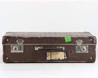 Vintage Suitcase, Vintage Brown Suitcase, Old Suitcase, Croc Embossed Suitcase, 1950's Suitcase, Suitcase With Travel Labels, Luggage