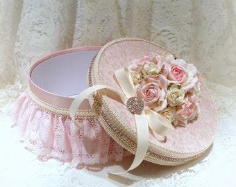 Shabby Chic Box, Shabby Chic Decor, Pink Lace Gift Box, Cottage Chic Decor, Decorated Box, Wedding Gift Box, Keepsake Box, Jewelry Box